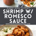 Shrimp with romesco sauce collage with title overlay.