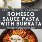 Romesco Sauce Pasta Pin Image