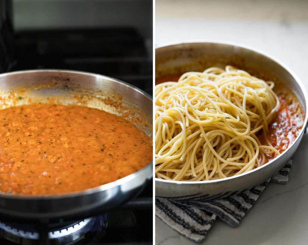 Side by side photos: skillet with sauce and pasta added.