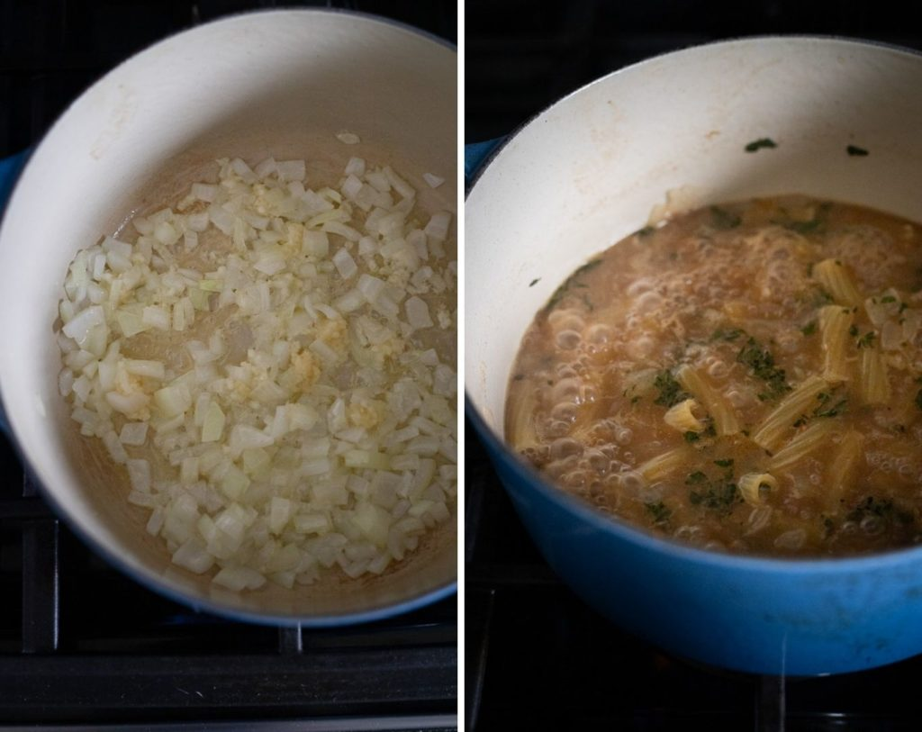 Two photos of dutch oven sauteing onion and then with vegetable stock and pasta.